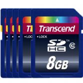 Transcend Secure Digital 8GB Class 10  Flash Memory Card, Pack of 5